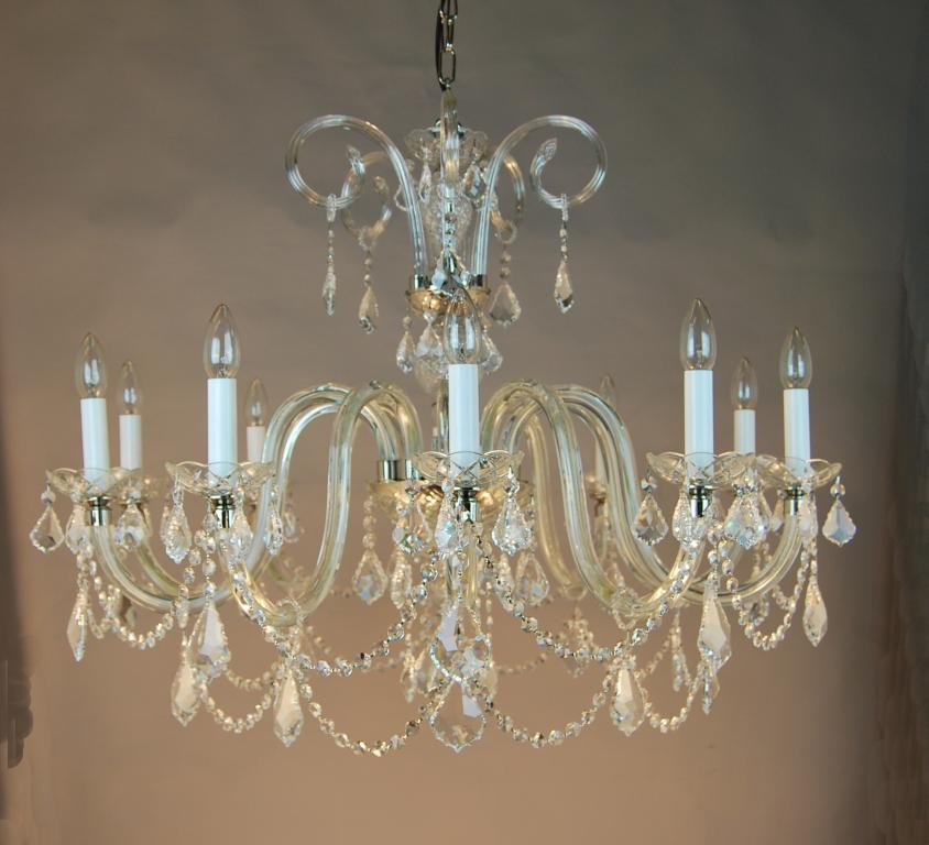 Nickel Chandelier Crystal Asfour, Traditional Dining Room Chandeliers